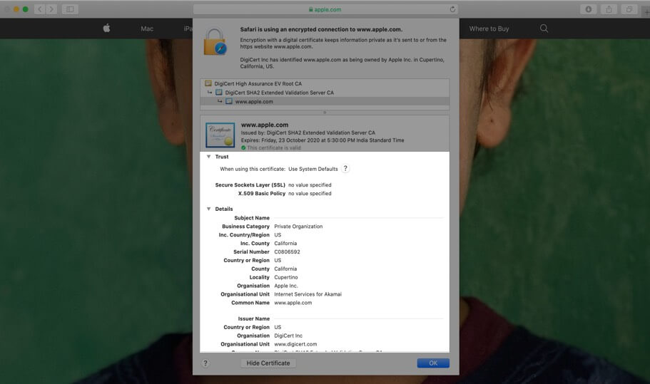 Check Complete Digital Certificate of Website in Safari