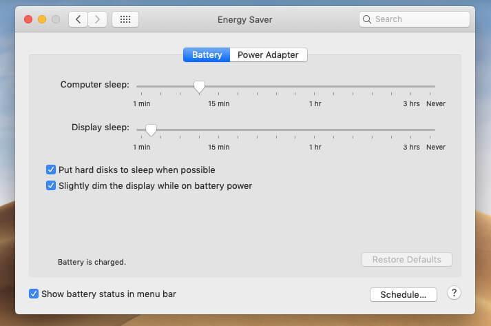 Check Energy Saver settings on Mac
