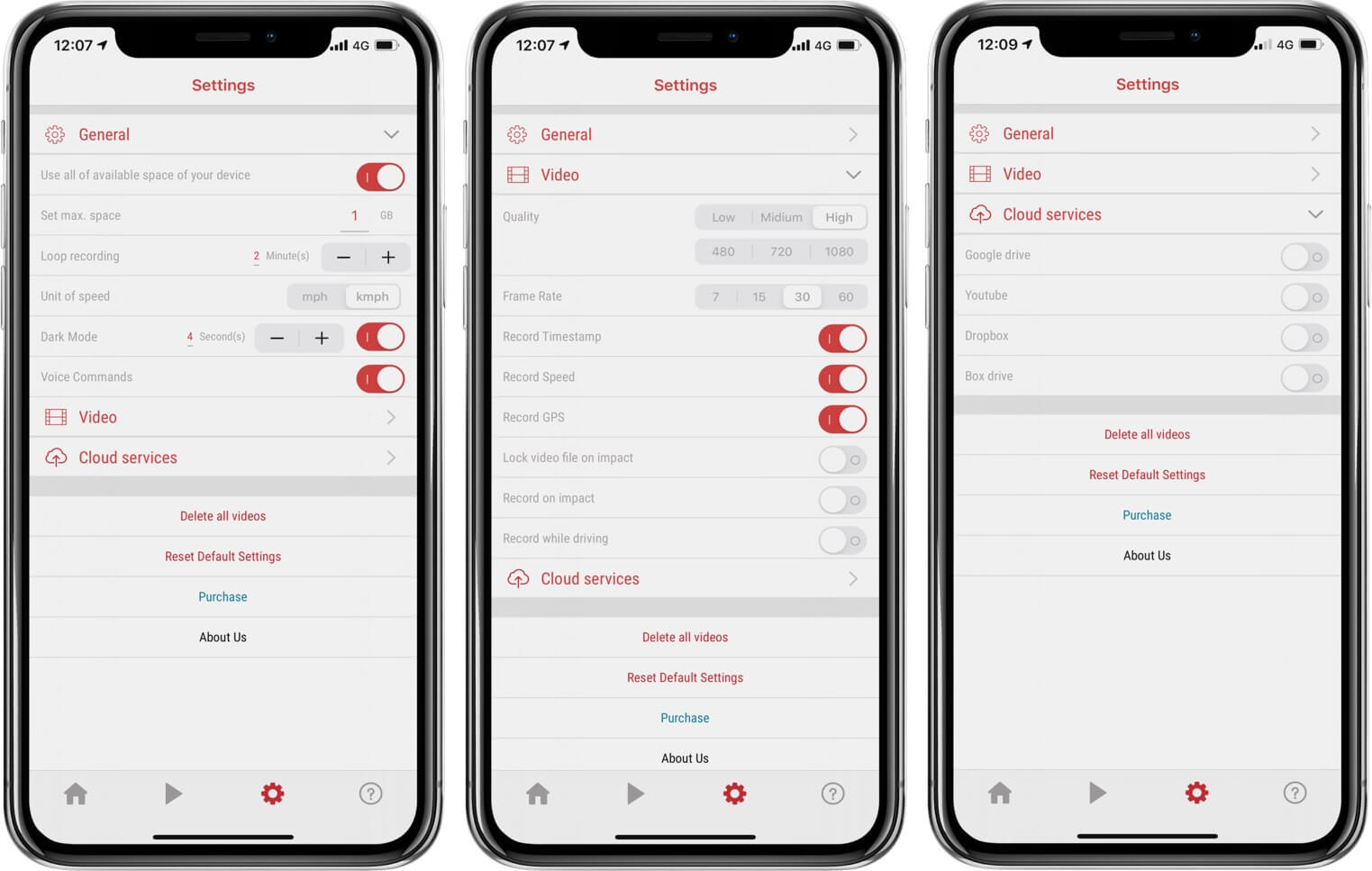 Check General, Video and Cloud Services Settings of UltimateDashCam App