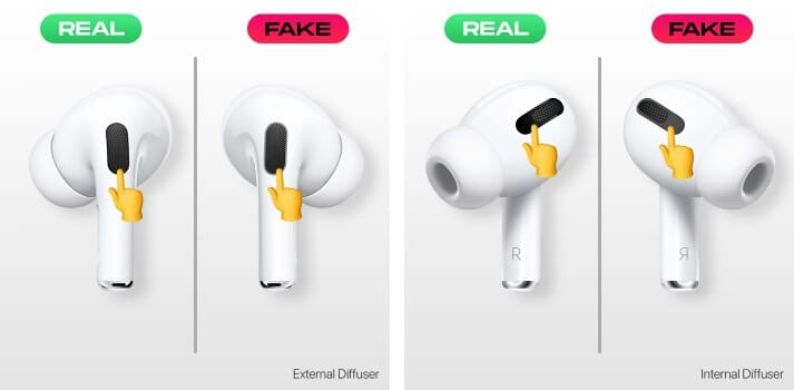 Check Internal and external diffusers to spot fake AirPods Pro