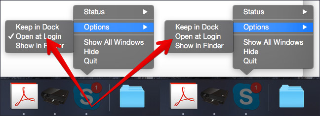 Check Open at Login in Skype on Mac