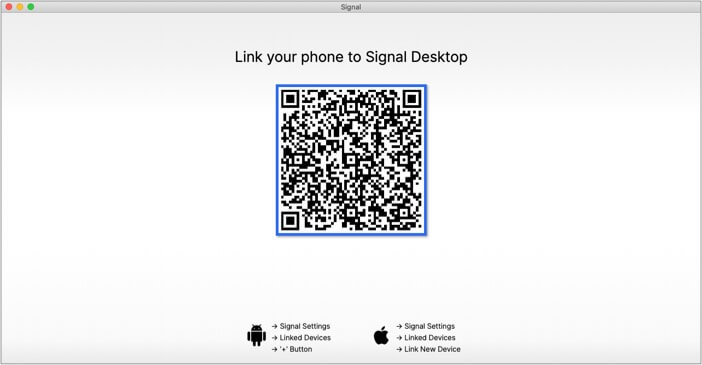 Check QRcode in Signal app on Desktop