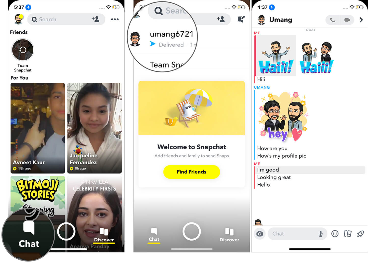 Check Recent Conversations with Your Friend on Snapchat