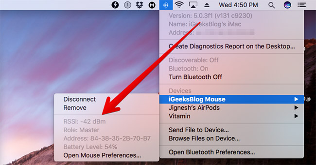 Check Signal Strength of Bluetooth Device on Mac