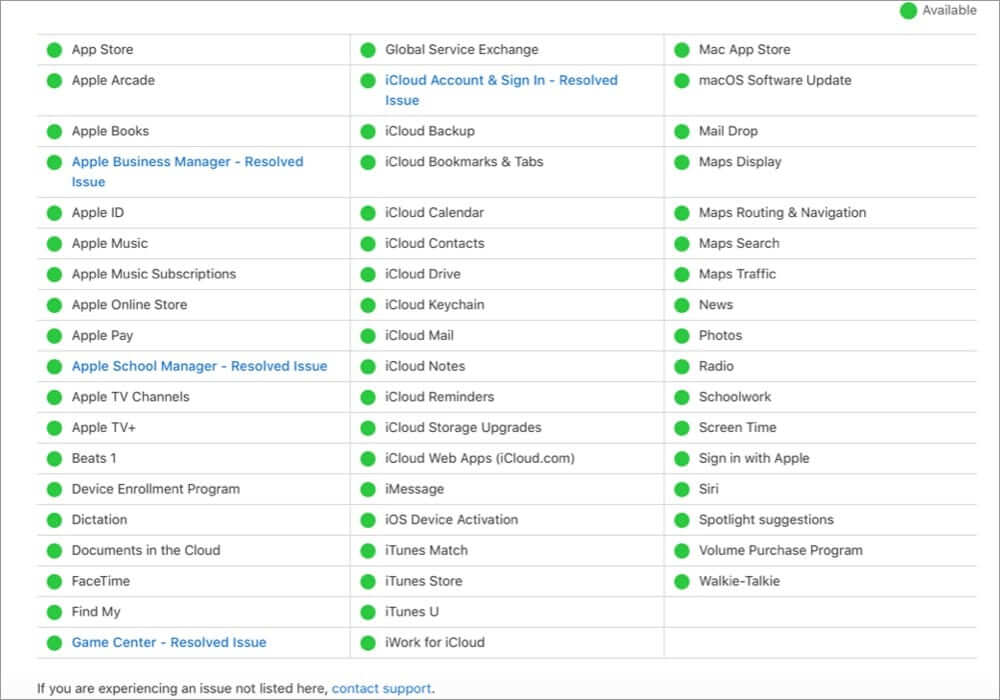 Check System Status of iCloud Services