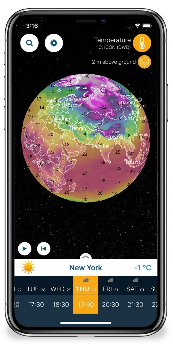 Check Weather Accross the Earth with 3D Globe Map on Ventusky iPhone App
