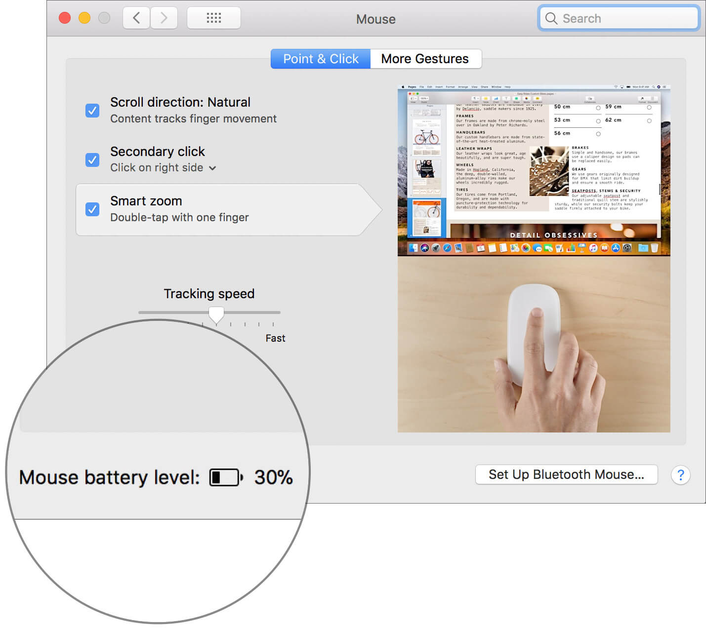 Check battery level of the Bluetooth Mouse on Mac