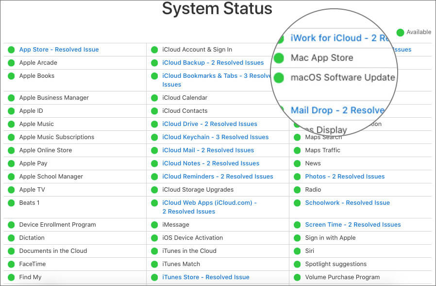 Check for macOS Software Update on System Status Page