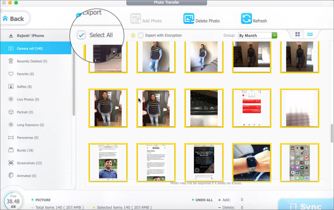 Check out the Select All option to export entire photo library on Mac or Windows PC