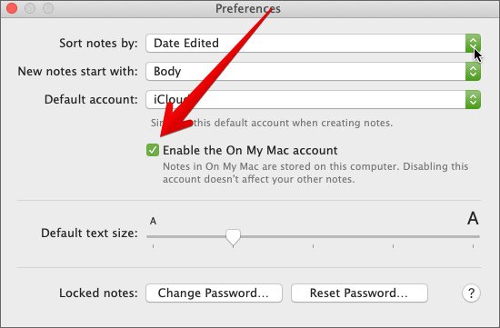 Check the box to Enable the On My Mac account