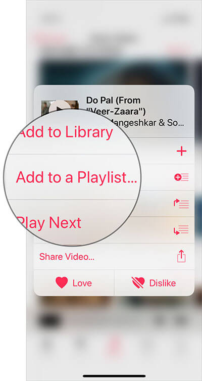 Choose Add to a Playlist in Music Video in Apple Music