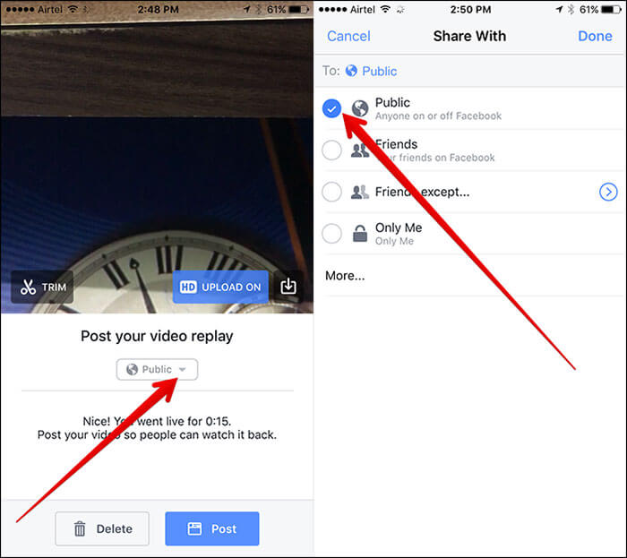 Choose Audiance for Facebook Live Video