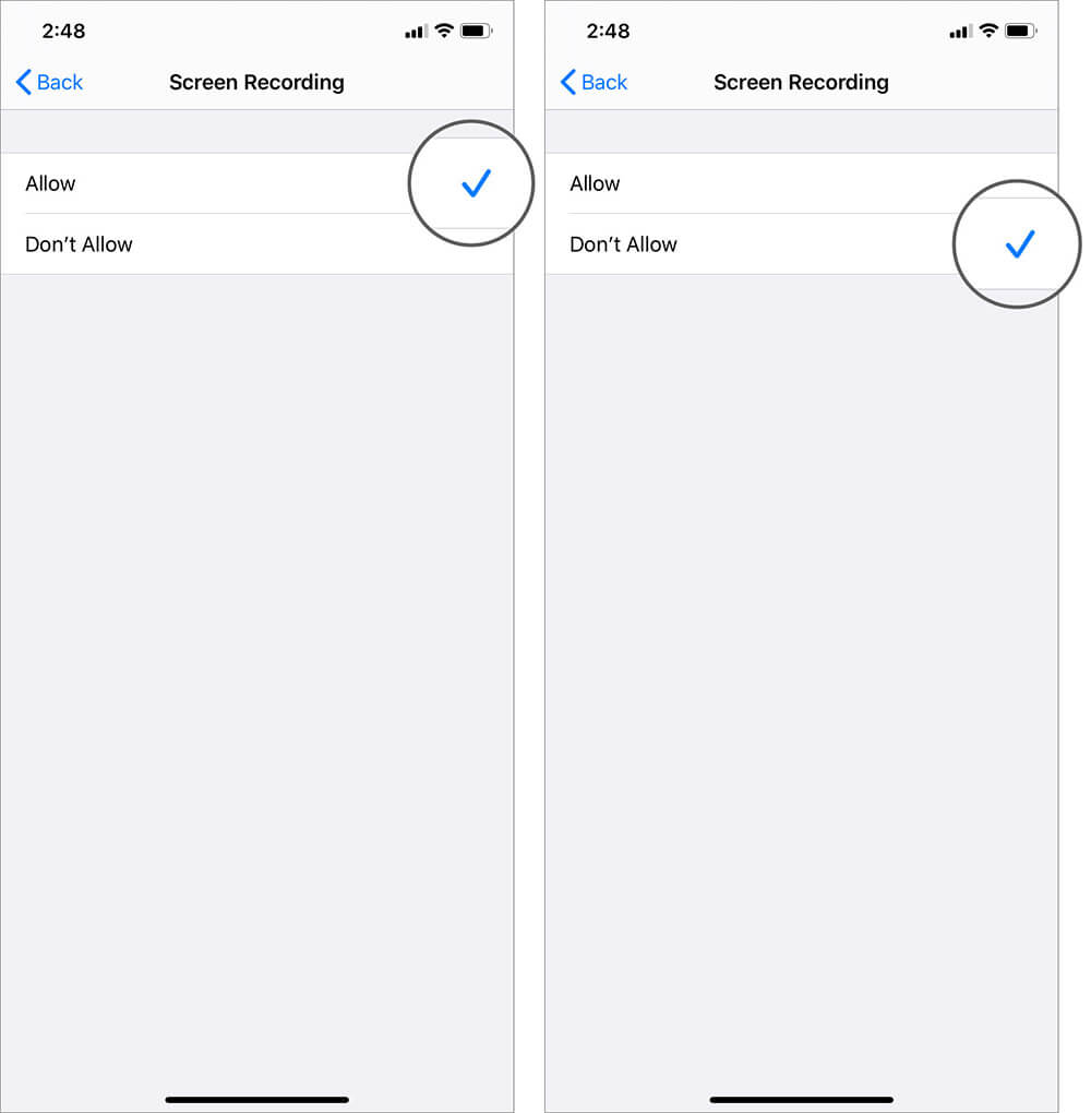 Choose Don't Allow and Block Screen Recording in Apple Arcade Games on iPhone