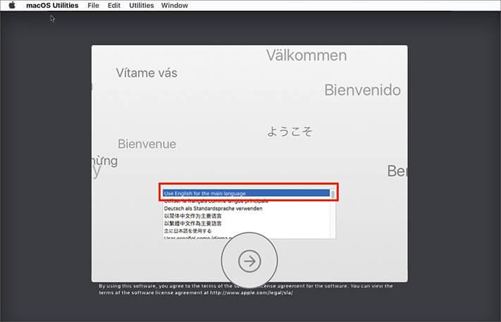Choose Language in macOS Utilities