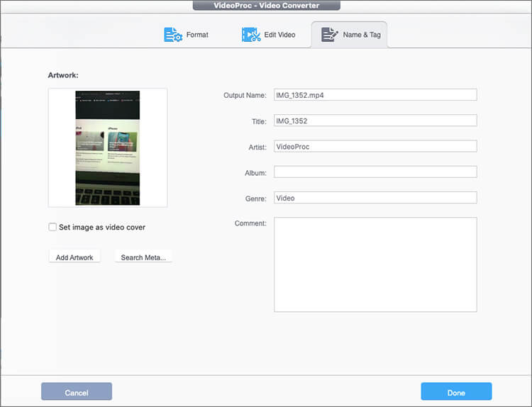 Choose MP4 Video Format and Click on Done