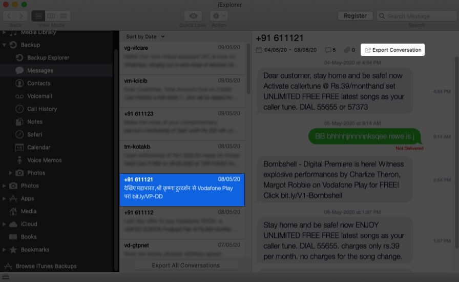 Choose Message and Click on Export Conversations on Mac
