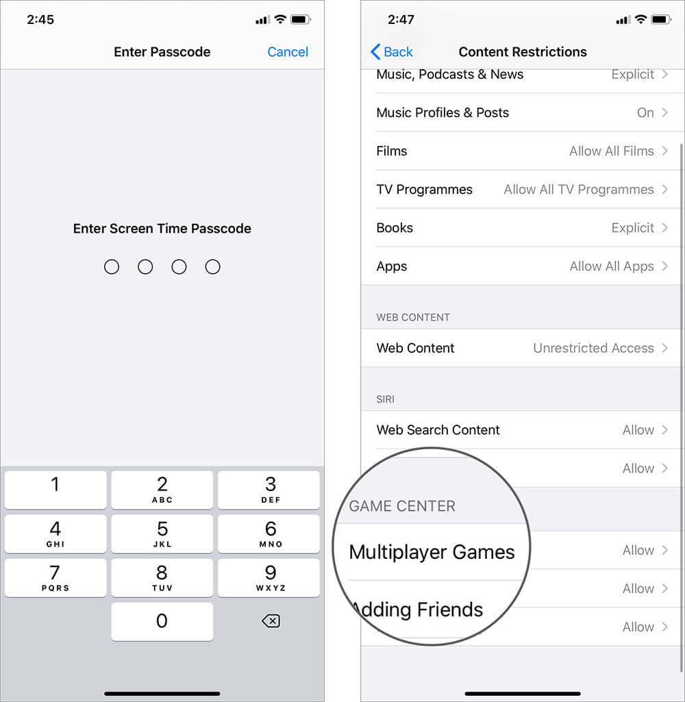 Choose Multiplayer Games Option in Screen Time on iPhone