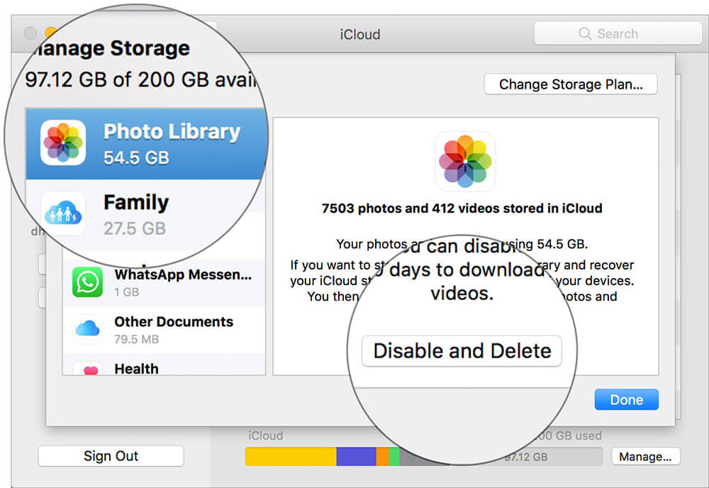 Choose Photo Library thenClick Disable and delete in Mac iCloud Settings