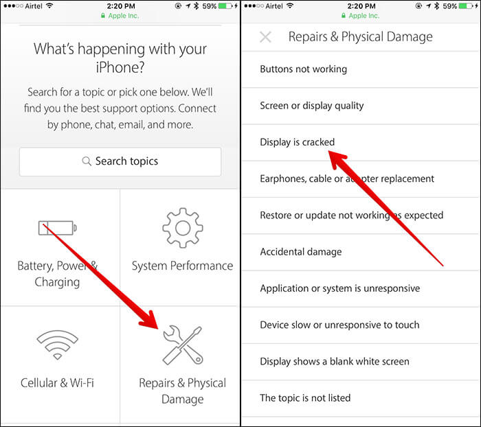 Wählen Sie auf der Apple Support-Seite die Option Problem des iPhone
