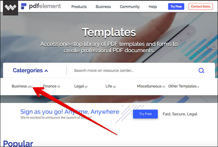 Choose Template Category in PDFelement
