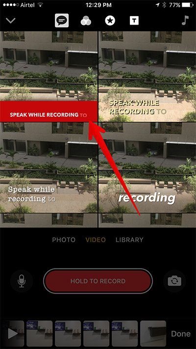Choose Title Style in Clips App on iPhone