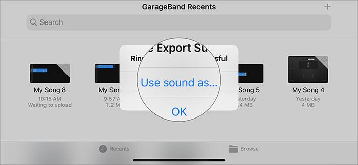 Wählen Sie Sound verwenden wie in GarageBand Recents auf dem iPhone
