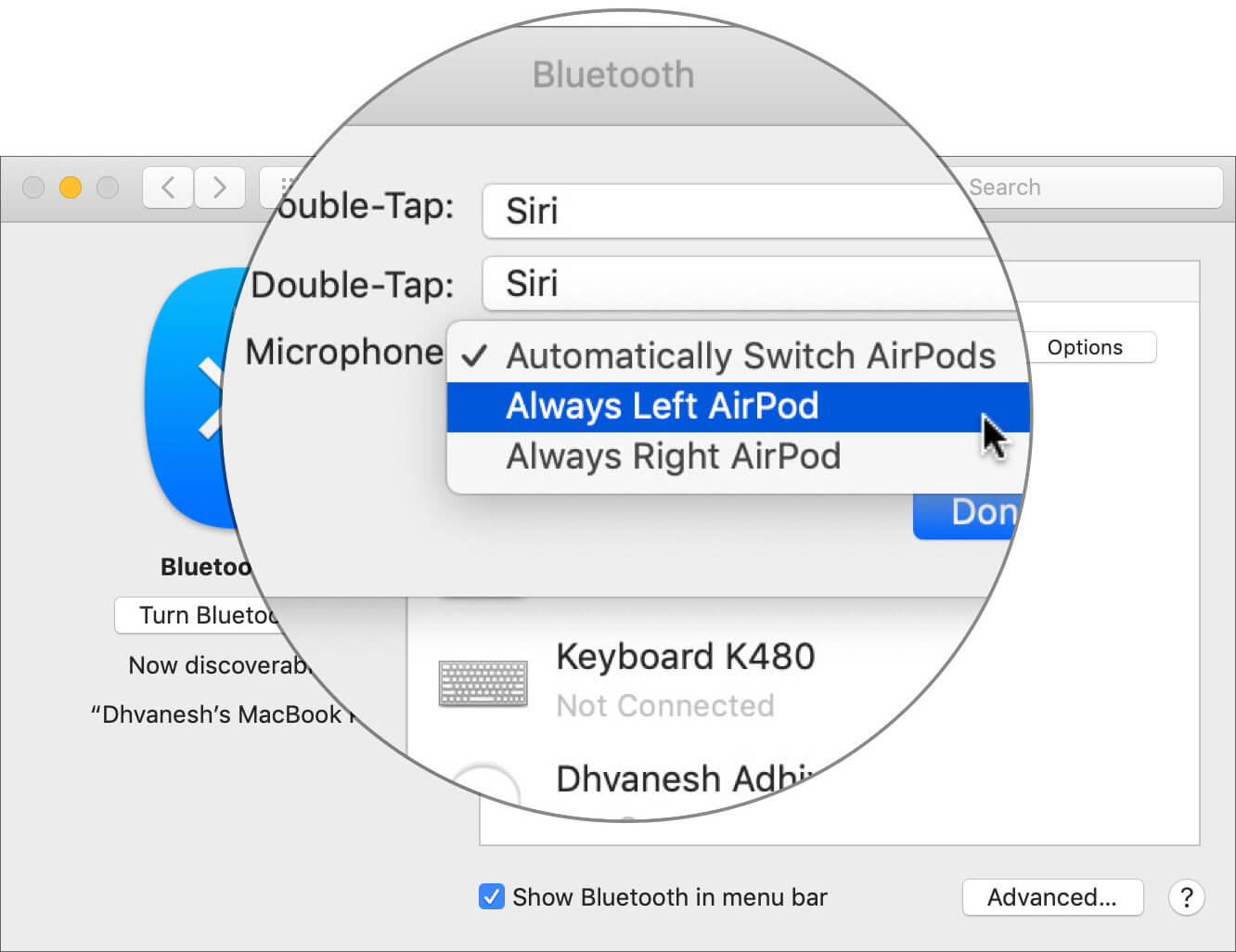 Choose Which AirPod to Use Microphone