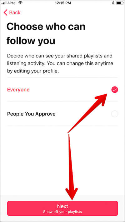 Choose Who Can Follow You in Apple Music on iPhone