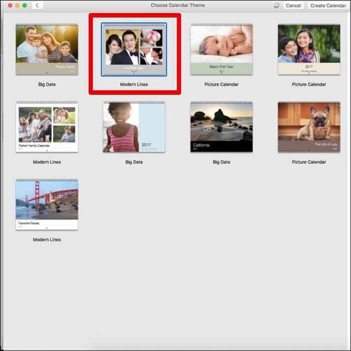 Choose a Calendar theme on Mac Photos App