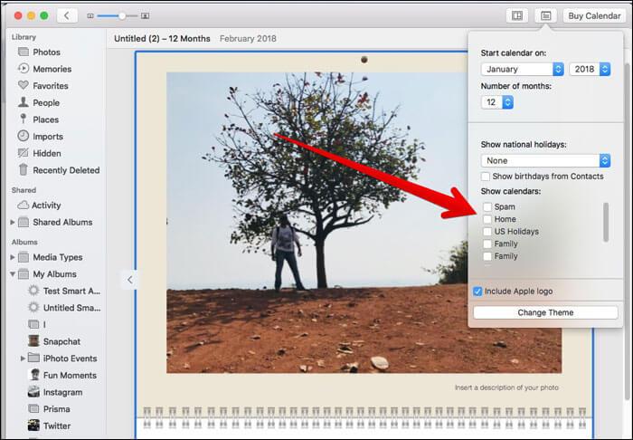 Choose a calendar on Mac Photos App