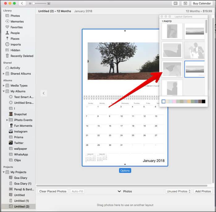 Choose a preferred template on Mac Photos App
