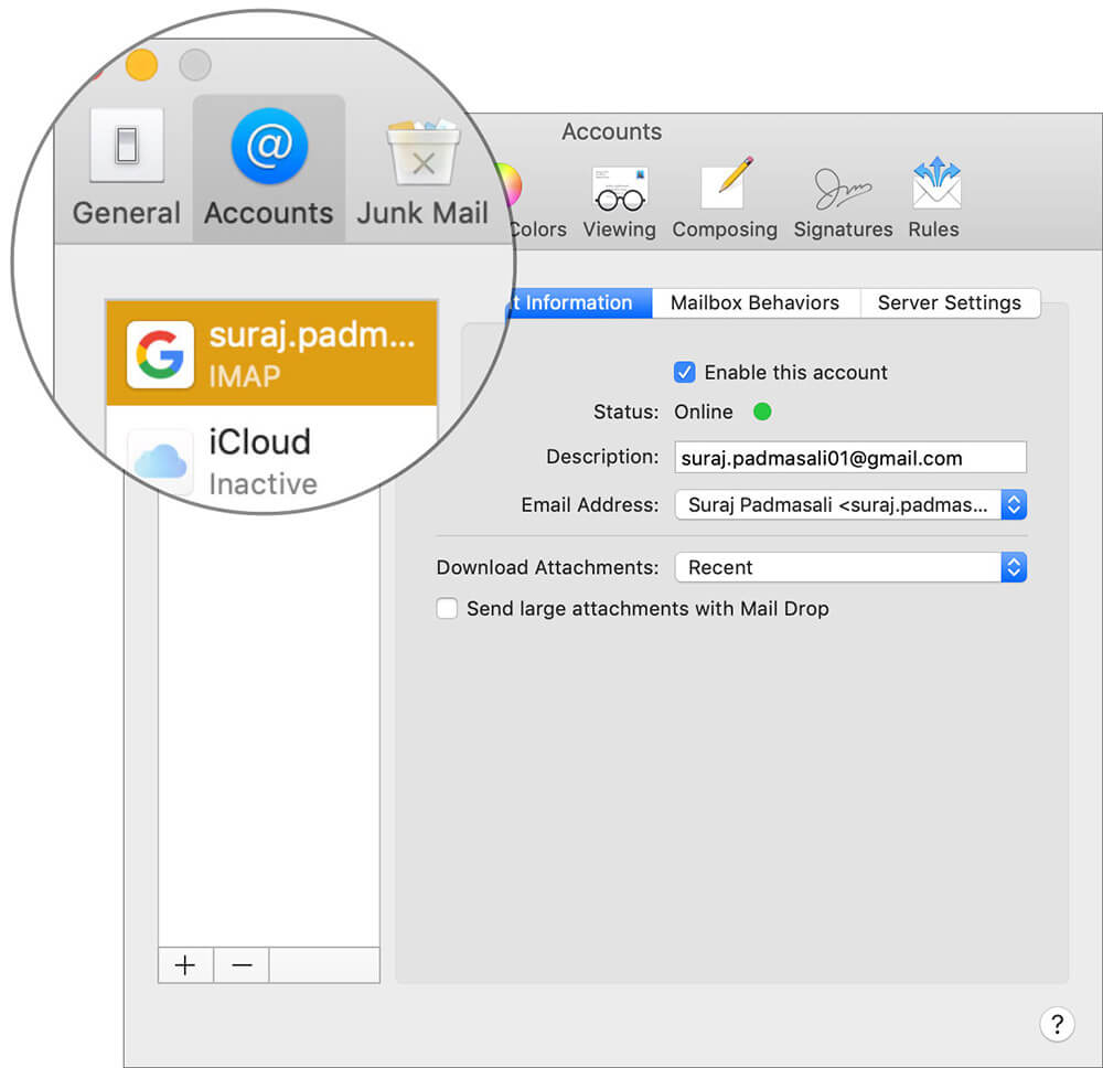 Choose email account under Account tab in Mac Mail app