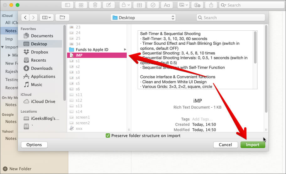 Choose file and click Import on Mac