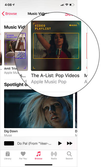 Choose music videos you wish to download in Apple Music