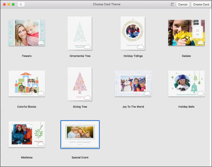 Choose the Card themes in Mac Photos App
