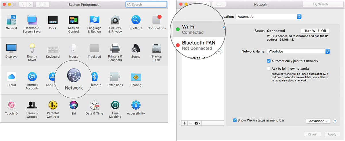 Choose your network connection in Mac Network Settings