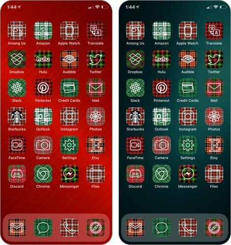 Christmas Plaid Aesthetic App Icons for iPhone Screenshot