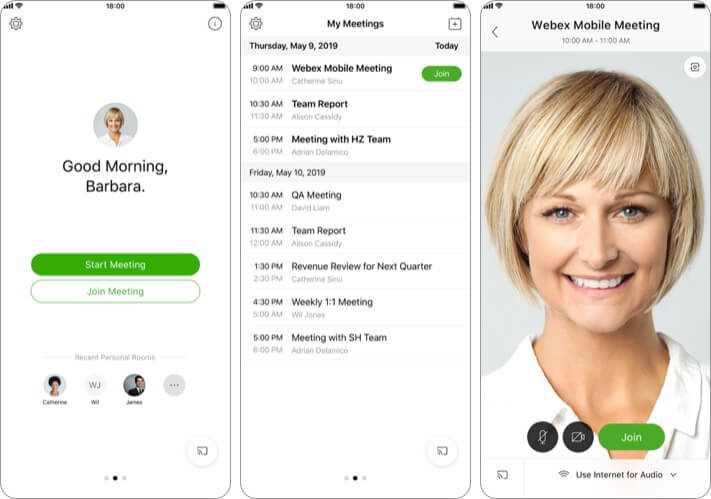Cisco Webex Meetings iPhone and iPad App Screenshot