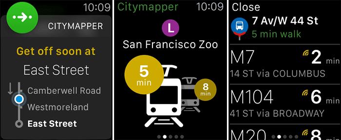 Citymapper Transit Navigation Apple Watch App Screenshot