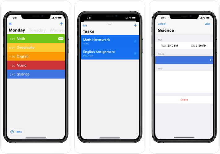 Class Timetable iPhone and iPad App Screenshot