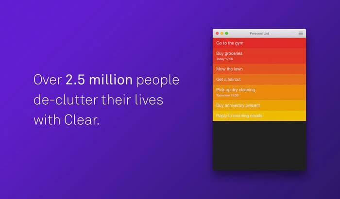 Clear Mac Task Management App Screenshot