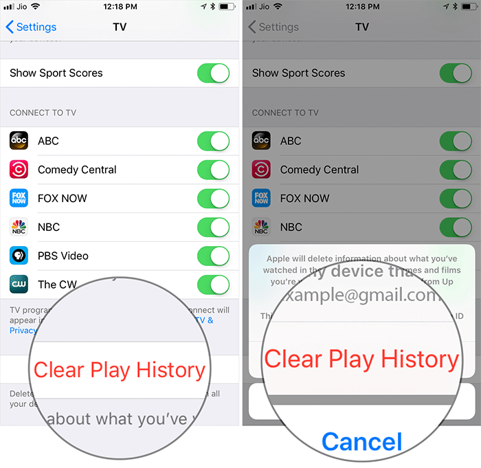 Clear TV App Play History on iPhone and iPad