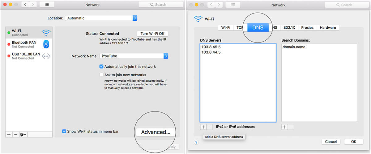 Click Advanced and select DNS in Mac Network Settings
