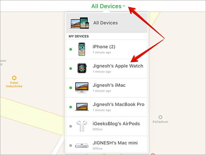Click All Devices in iCloud Find iPhone and select Apple Watch