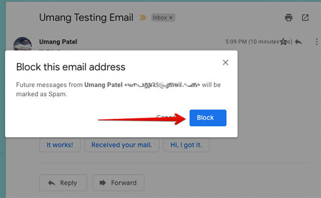 Click Block Button in Gmail on Computer