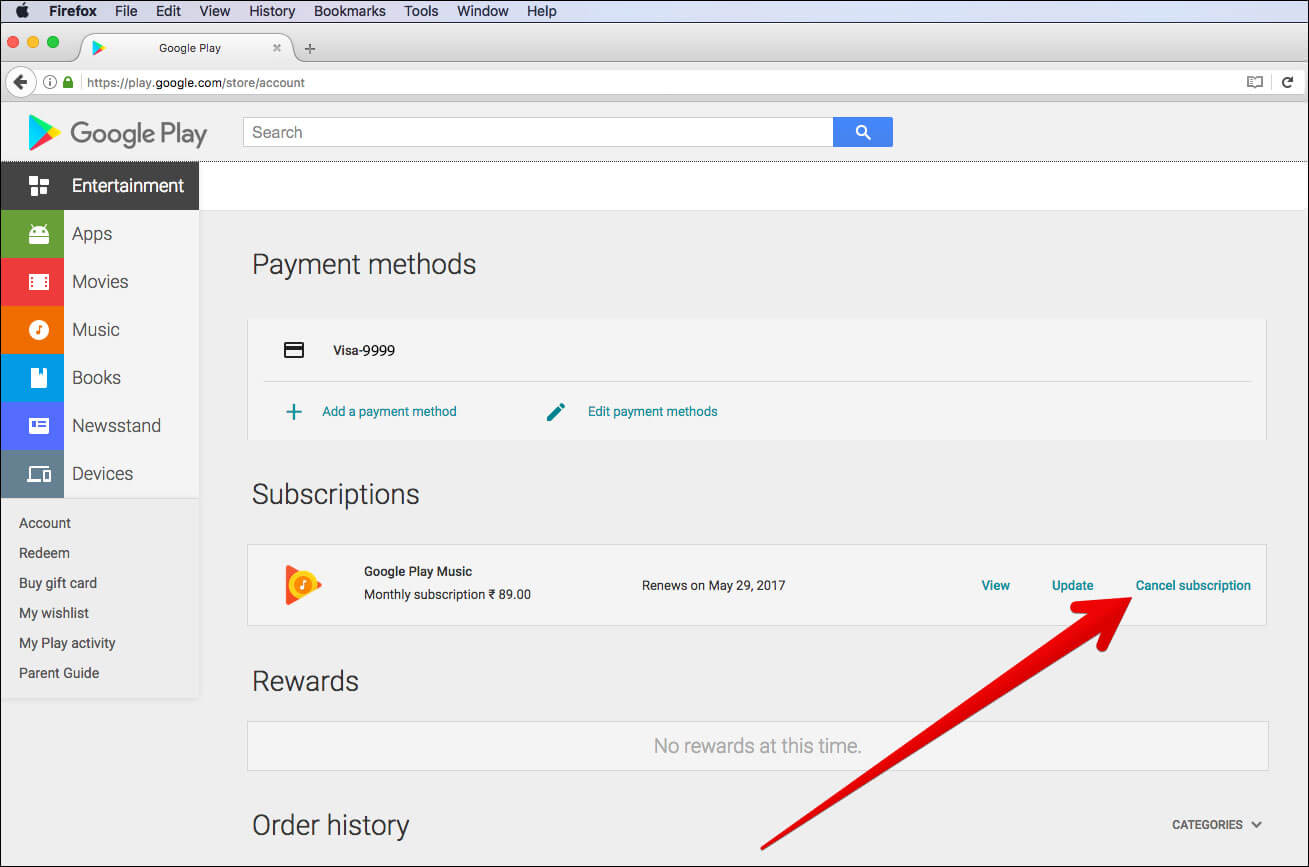 Click Cancel Subscriptions in Google Play