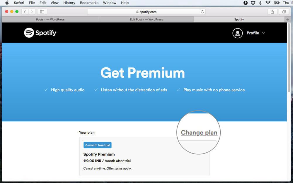 Click Change plan to Buy Spotify Paid Plan on Mac