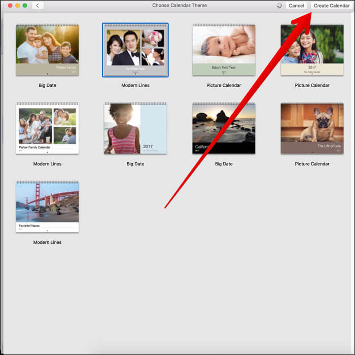 Click Create Calendar on Mac Photos App