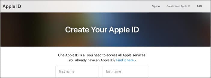 Click Create Your Apple ID on Apple's Website