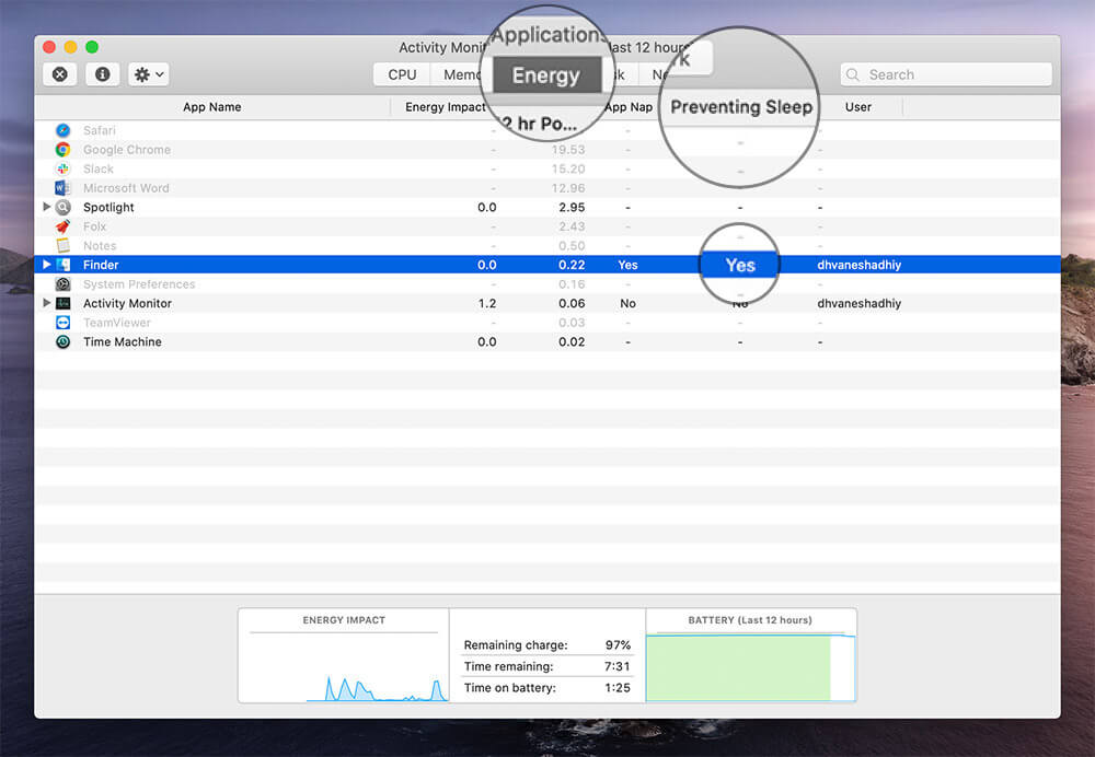 Click Energy Tab and Check Preventing Sleep Column in Utilities on Mac